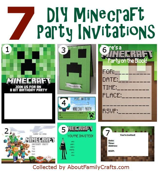 17 best ideas about minecraft invitations on pinterest | mine, Invitation templates