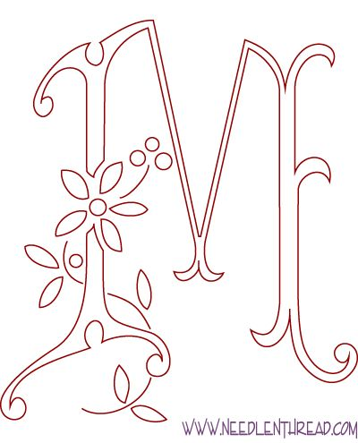 Free Hand Embroidery Pattern: The Letter M