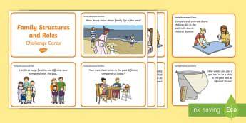 Year One Family Structures and Chores Challenge Cards - Family structures, family chores, quiz cards, ACHASSK030, ACHASSK028, lifestyles, changes, past, pre