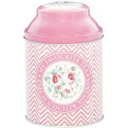 GreenGate Tin Tea Box Ziggy Pale Pink