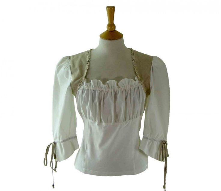 "90s White Smock Top Features an elasticated Florentine neckline, two beige linen panels from the shoulders and a pleated bodice.  #whitetops #90stops #vintagefashion #vintage #retro #vintageclothing #90s #1990s #vintageblouses  <link rel=""canonical"" href=""http://www.blue17.co.uk/>"