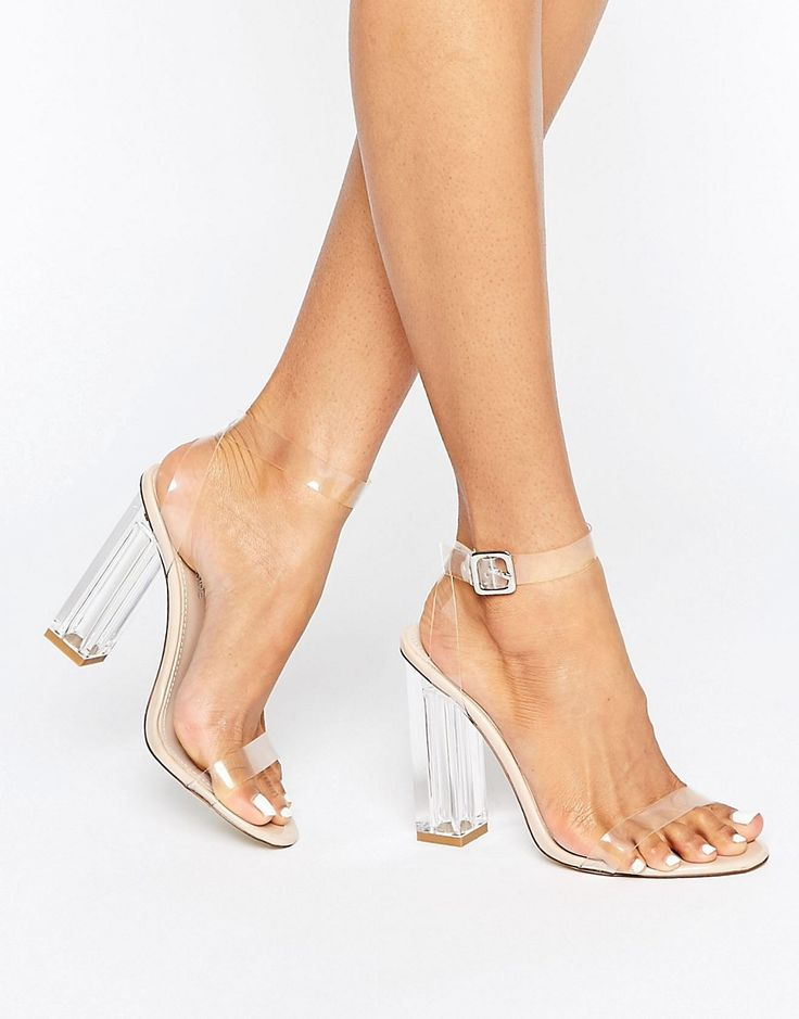 Image 1 of Public Desire Alia Clear Strap Block Heeled Sandals