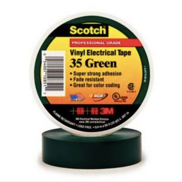 Scotch 35 Vinyl Electrical Color Coding Tape - Green - 3/4 in x 66 ft  Scotch® 35 Vinyl Electrical Color Coding Tape - Green, 3/4 in x 66 ft (19 mm x 20.1 m).     - Harga per roll  http://tigaem.com/isolasi-electrical-tape/163-scotch-vinyl-electrical-color-coding-tape-35-green-3-4-in-x-66-ft.html  #scotch #electricaltape #isolasi #3M