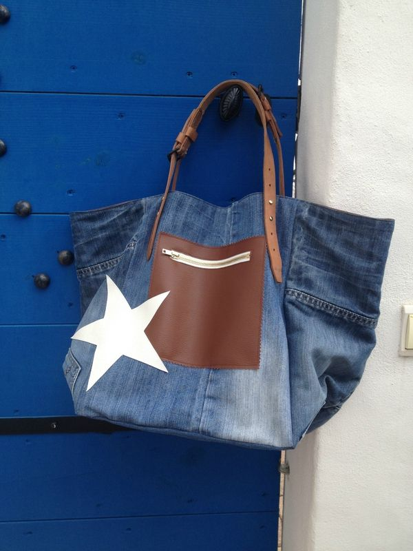 Sac cabas Patchwork en denim