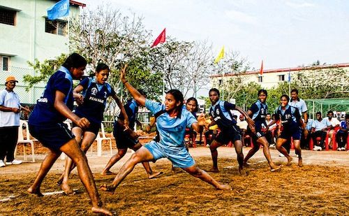 Globalize recess and PE: Kabaddi is a popular playground game in India that is easy to play, with no equipment.