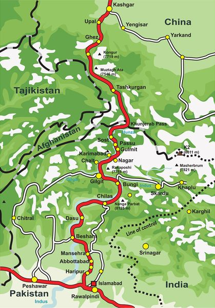 This is a map of Karakoram Highway, the road that links the Northern Areas of…