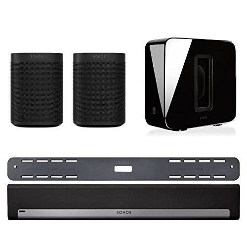 Sonos 5.1 Home Theater System with Sonos ONE (Pair), PLAYBAR with Wall Mount Kit, and SUB (Black) This Bundle Includes (5) Items: (2) Sonos ONE Voice Controlled Wireless Smart Speakers, (1) Sonos SUB Wireless Subwoofer, (1) Sonos PLAYBAR TV Soundbar, and (1) Playbar Wall Mount Kit Sonos ONE Voice Controlled Smart Speaker allows you to start and control your music with your voice. Amazon Alexa built right in Connect Wirelessly with other Sonos Home Sound System Speakers to pla