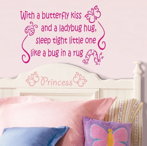 """With a butterfly kiss """"quote"""" bedroom playroom vinyl wall art sticker"""