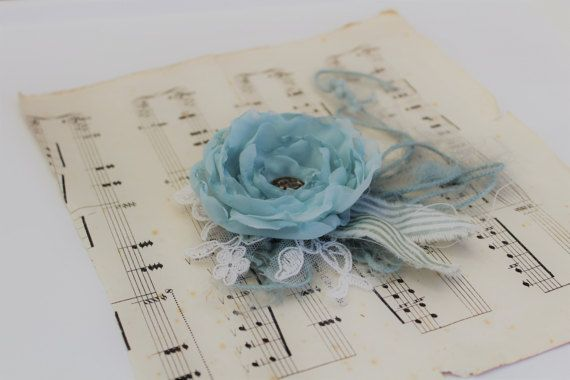 Wrist CorsageFabric Flowers Handmade Flowers by onebrassbutton