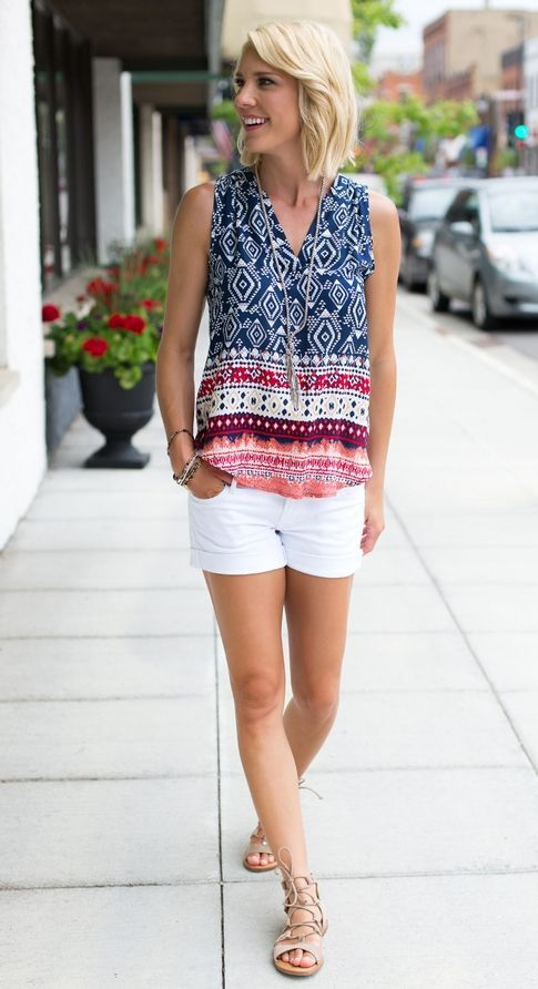 Light sleeveless summer top with white shorts and nude sandals. Spring/summer 2017 styles. Try Stitchfix subscription box! Best personal styling service. Fill out your style profile, schedule a fix and enjoy!
