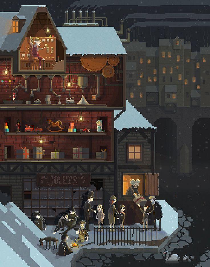 Scene #13: 'The Toy Maker'. Pixel Art illustrations by Octavi Navarro. 2014. www.pixelshuh.com