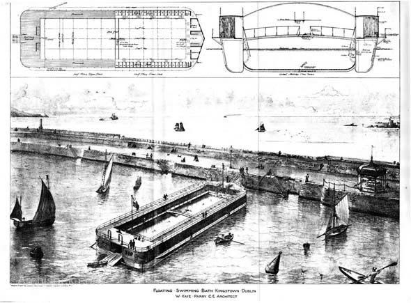 Proposal for Floating Swimming Baths, Kingstown (Dun Laoghaire), Dublin