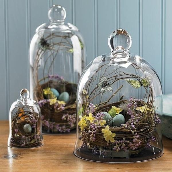spring cloche full of our favorites. :) #springbelljar  #butterflygarden  www.GoodOldDaysFlorist.com