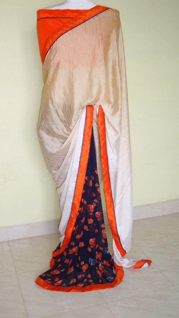 Indian designer saree /floral saree /party wear by SabirCreations