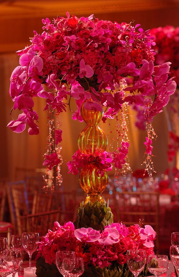 Gorgeous floral arrangement by Preston Bailey, made of orchids