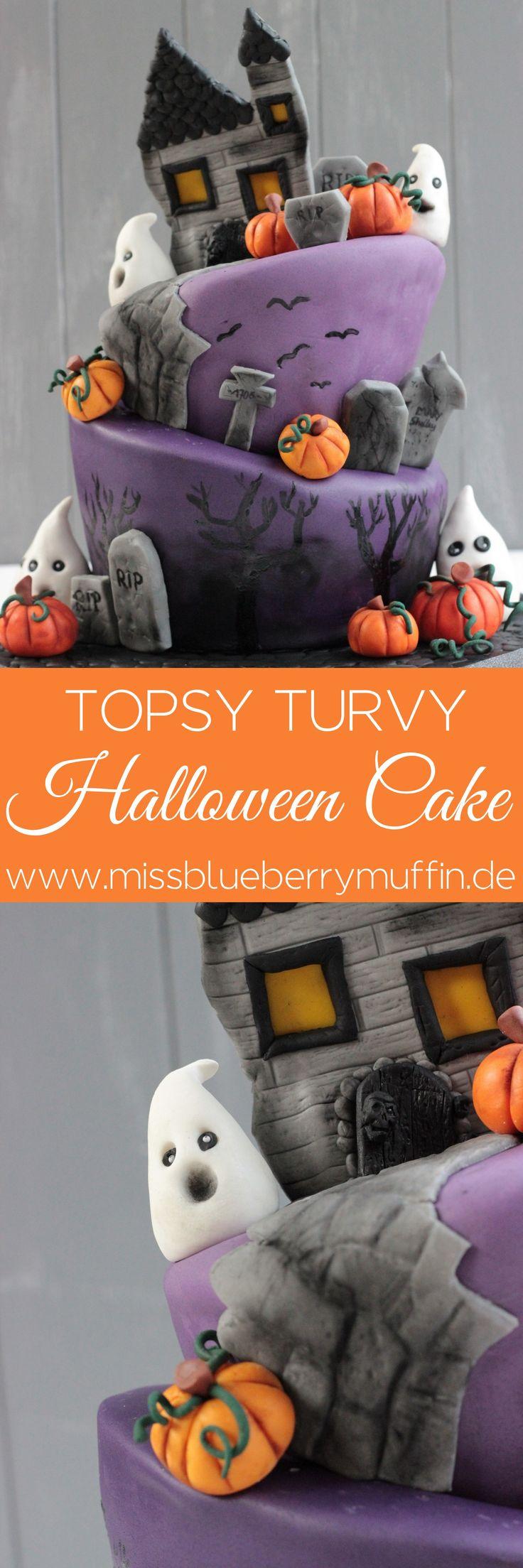 Halloween Motivtorte // Rezept // Torte // Topsy Turvy Cake <3