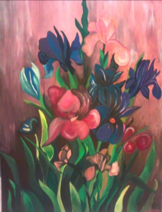 Flowers, Acrylic on canvas, 150X80