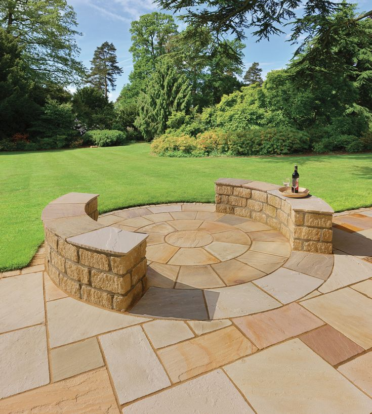 Pavestone Golden Fossil Natural Sandstone Paving Detailed With A Pavestone  Golden Fossil Circle Feature. The