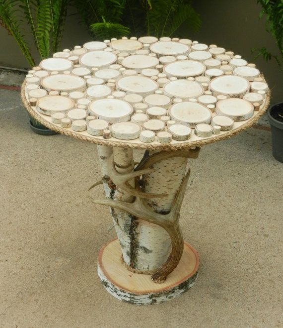 Rustic Birch End Table Furniture with Real Whitetail Deer Antlers by TheCreativeQ