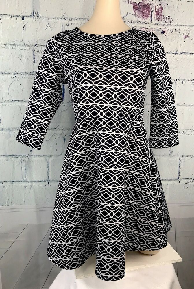 7289a2f3e4b Copper Key Womens A Line Dress by Dillards Black White Graphics 3 4 Sleeve