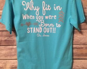 Customize this shirt with you school colors for your favorite teacher & with your favorite Dr. Seuss quote. If you dont see a color your looking for in the T shirts please let us know & we will be happy to find one to best fit your school colors. In note to seller include vinyl color (choose 2) any additional is $2 per each added color Shirts can be upgraded to comfort color T-shirts. For an additional $3 charge. If you would like to make it comfort color please check with us for colo...