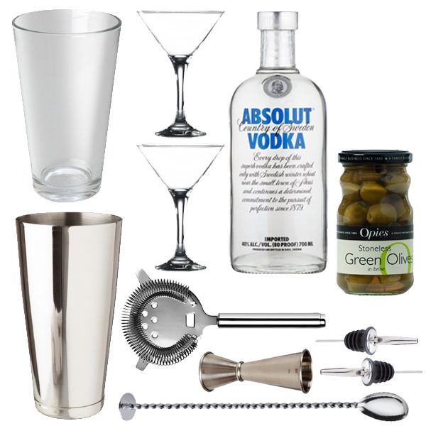 <strong>Martini Gift Set</strong> -Shake or stirred this is the ultimate gift set for the Bond in your life!    <strong>Martini Gift Set</strong> - <strong>Gift Set Contents</strong>  1 x Boston Cocktail Shaker Can 28oz  1 x Boston Cocktail Shaker Glass 16oz  2x Stainless Steel Freeflow Pourer  1 xProfessional Jigger  1 x Cocktail Miking Spoon  1 x Hawthorne Strainer  2 x Martini Glasses  1 x Absolute Vodka 70cl  1 xStoneless Green Olives