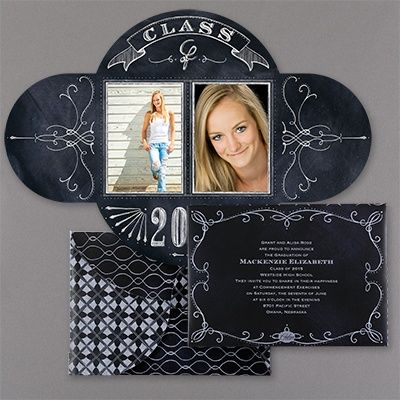 A mosaic design is shown on the front of this folded announcement along with your photos on the inside of this graduation invitation.