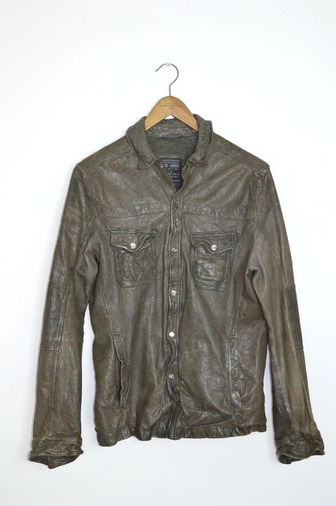 cb7386f0 AWESOME SAUCE All Saints Mens Leather EMERY Shirt Jacket LARGE moto rock  (eBay Link)