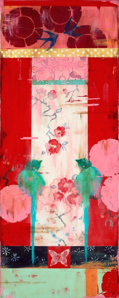 Lovebird Series: Romance (c) 2013, 40x16 on frescoed canvas Kathe Fraga www.kathefraga.com Inspired by vintage Paris and chinoiserie ancienne.