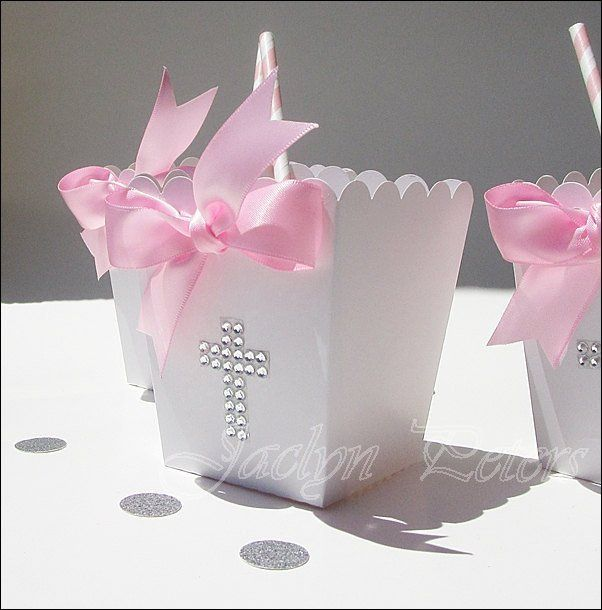 Girls Baptism Rhinestone Cross Popcorn Favor Boxes With Bow - Jaclyn Peters Designs - 2