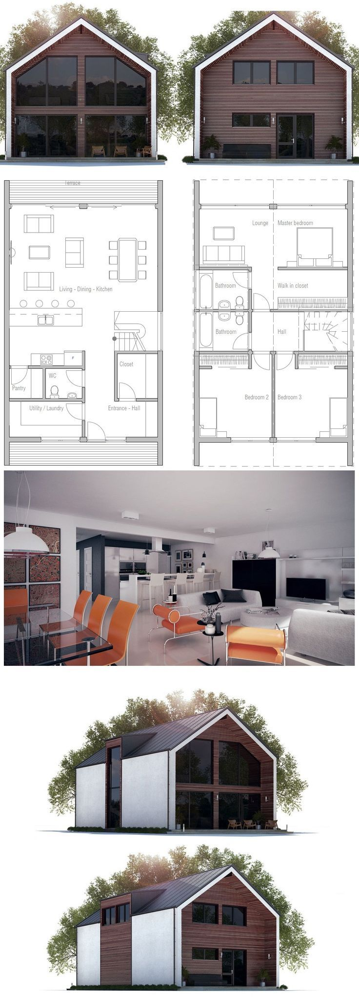 Narrow House Plan CH275 from ConceptHome.com