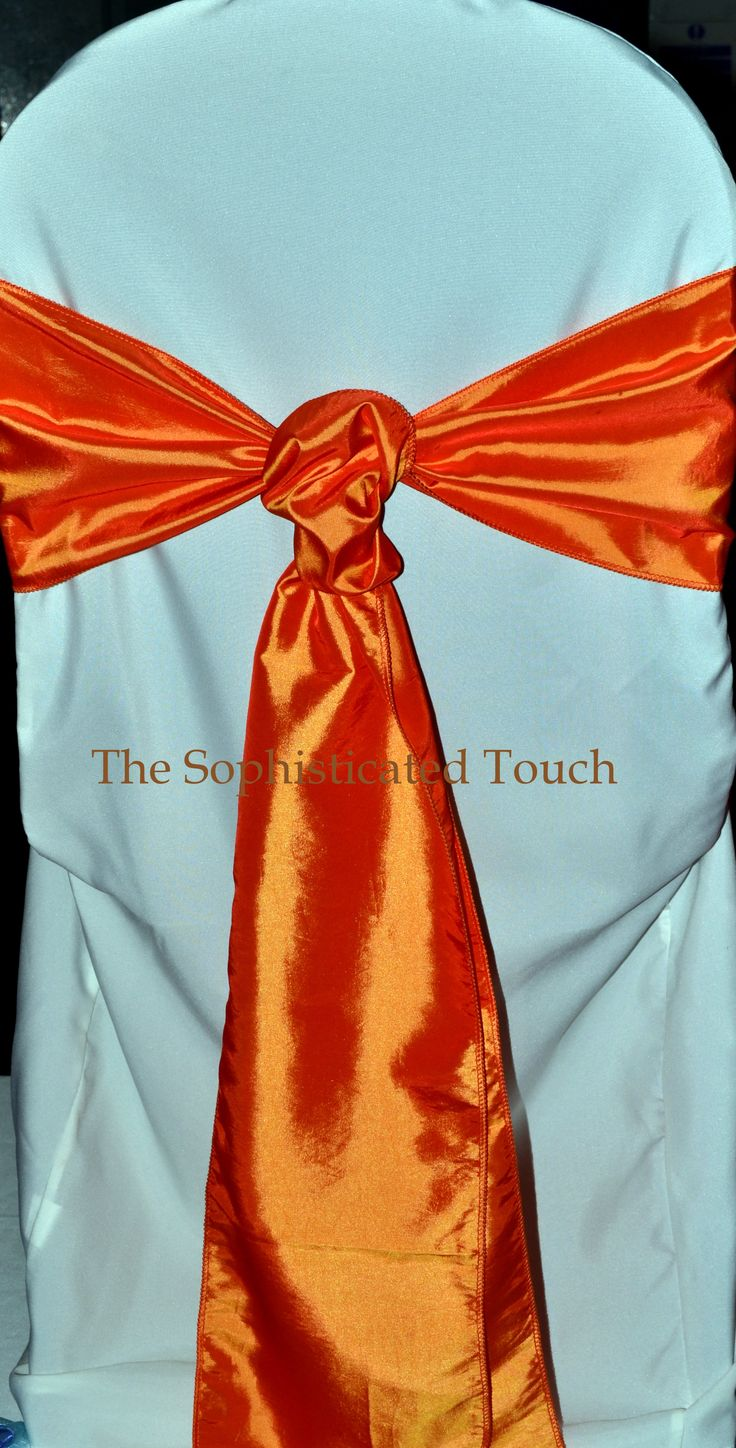 Orange Satin Cravat on Ivory Chair Cover  The Sophisticated Touch ...Chair Covers by Design