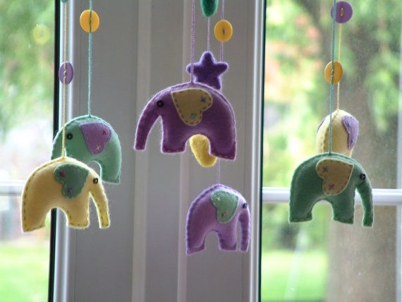 Baby elephants mobile, pastel felt. Circus. Star, hearts. Nursery decor, crib accessory, cot. Ready to ship. Coordinating bunting available.. £35.00, via Etsy.