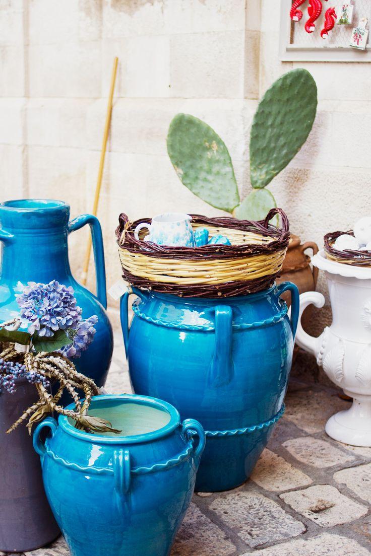 Ceramic Pots For Sale Part - 46: Polignano A Mare Big Blue Ceramic Pots For Sale