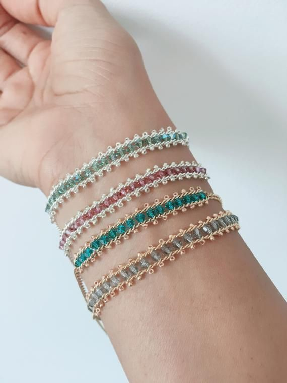 These Super Sparkling Bracelets Are Made By Hand Using Swarovski Bicone Or Round Beads And Tiny Seed Beads A Sparkle Bracelet Beaded Bracelets Swarovski Beads