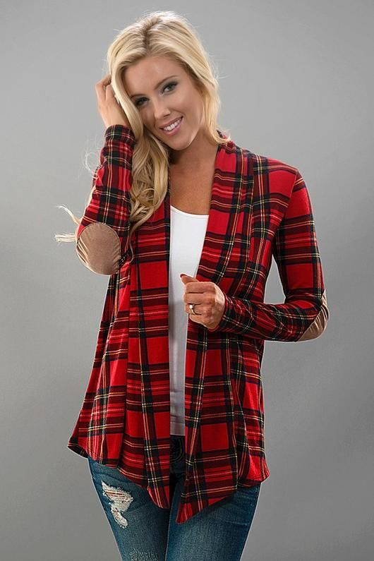Plaid open cardigan with faux suede elbow patchs.