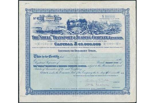 "The ""Shell"" Transport & Trading Company, Limited. Ordinary Stock £100, London, 5 September 1944,"