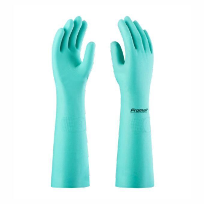 Fabricante: PROMAT   Tamanhos Disponíveis: M, G e XG  Descrição:  Luva de segurança confeccionada em borracha nitrílica, interior liso, acabamento antiderrapante na palma, face palmar dos dedos e pontas dos dedos.
