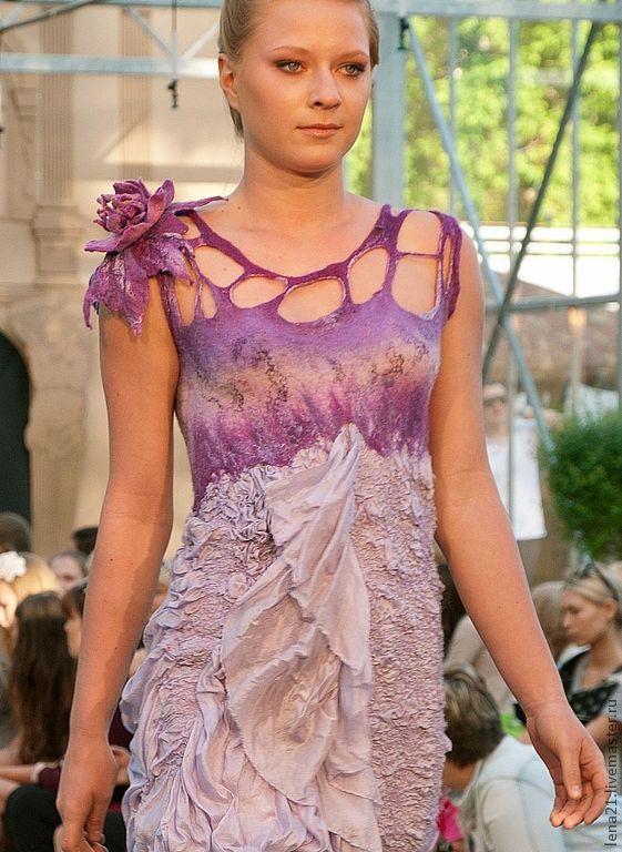 Купить Платье Сиреневый туман - сиреневый, выпускной, драпировка, нунофелтинг, ручная авторская работа, экомода