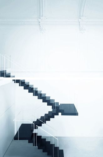 theatre turned into a modern loft | monza, italy | piero lissoni: Interiors Stairs, Floating Stairs, Black Stairs, Staircases, Black White, Architecture Stairs