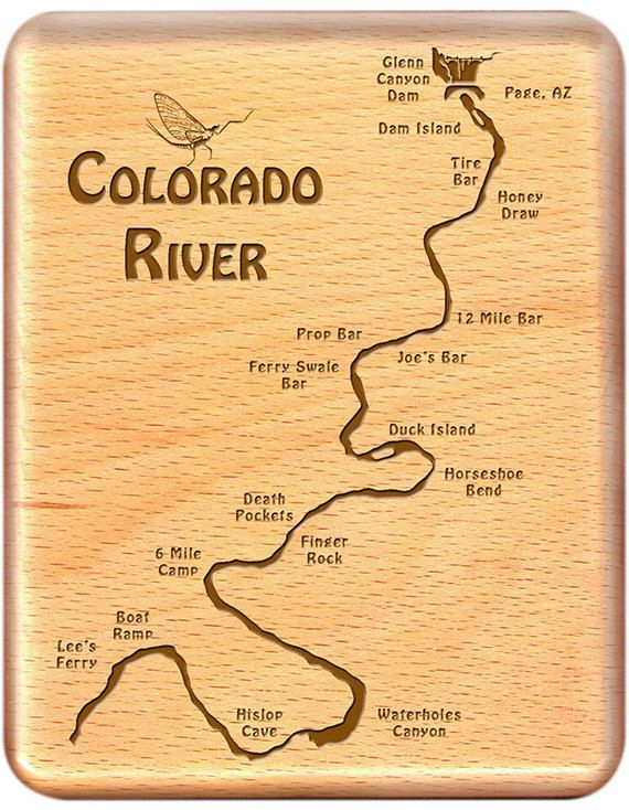 COLORADO RIVER MAP FLY BOX - LEE'S FERRY - by STONEFLY STUDIO - Handcrafted, Custom Designed, Laser Engraved, Made in Montana.  THE PERFECT FLY FISHING GIFT. Fly Fishing Arizona. http://www.stoneflystudio.com/