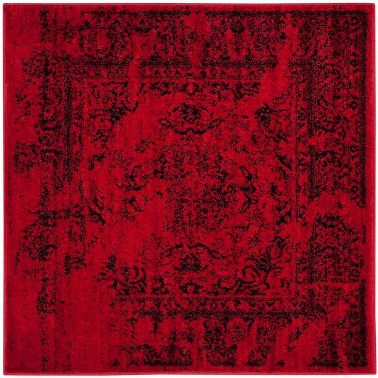 Adirondack Red/Black 6 ft. x 6 ft. Square Area Rug