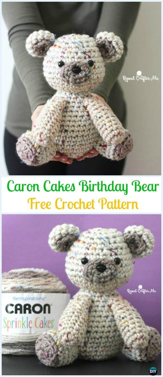 Amigurumi Crochet Caron Cakes Birthday Bear Free Pattern - Amigurumi Crochet Teddy Bear Toys Free Patterns