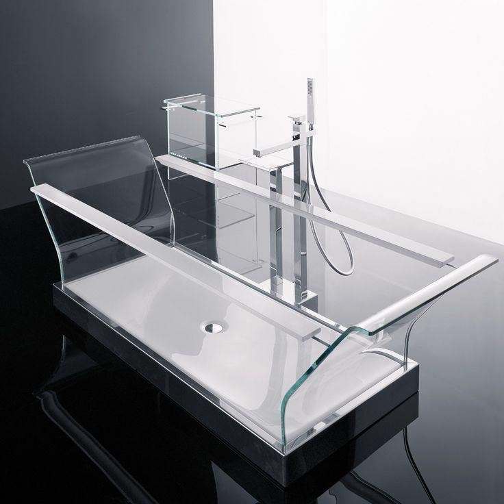 Sense 1 - Novellini: vasca freestanding in cristallo extrachiaro con rubinetteria e scarico