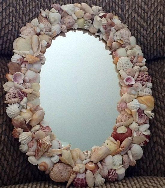 Sea Shell Art Mirror 9 x 9 inches by TimelessTreasuresbyB on Etsy