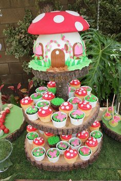 Woodland Fairy Toadstool Party Home Cake