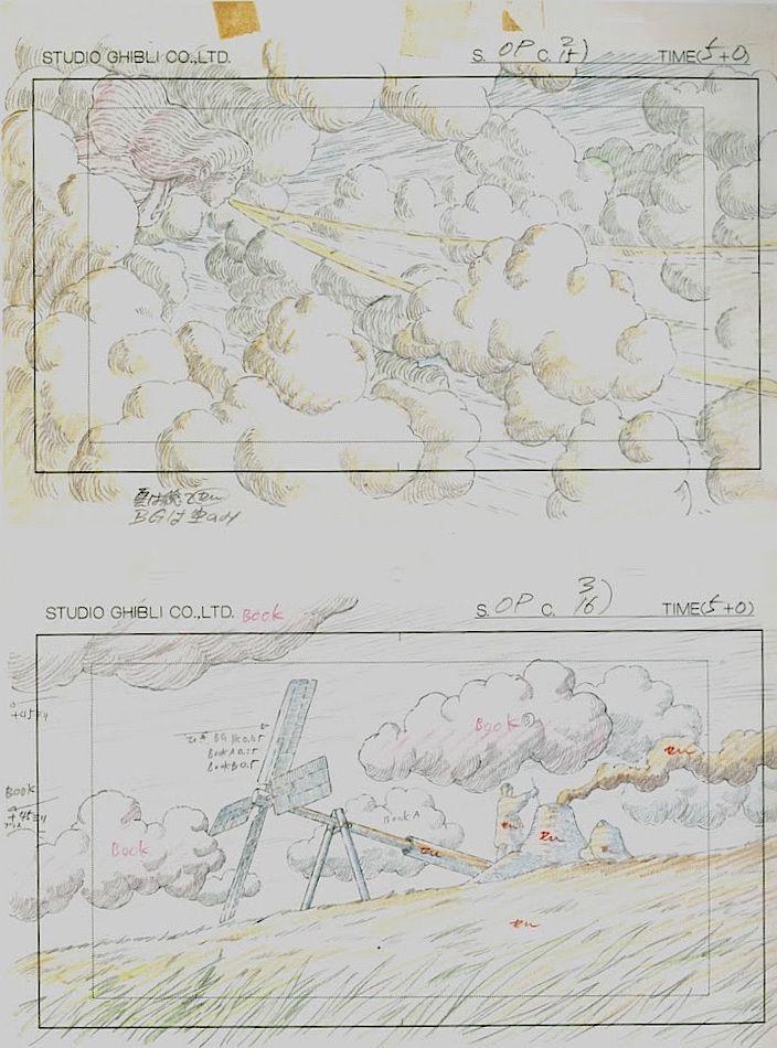 Film: Castle In The Sky ===== Layout Design: Opening Credits ===== Production Company: Studio Ghibli ===== Director: Hayao Miyazaki ===== Producer: Isao Takahata ===== Written by: Hayao Miyazaki ===== Distributed by: Toei Company