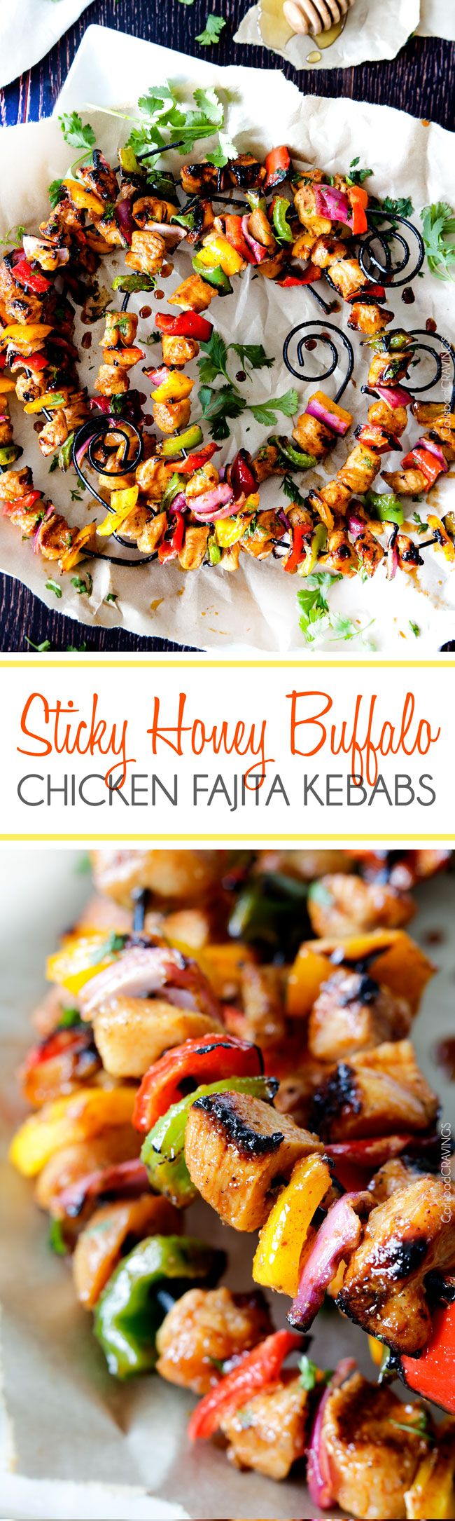 Easy Sticky Honey Buffalo Chicken Fajita Kebabs -- this flavorful meal is marinated and doused in the most tantalizing sweet heat sauce! http://www.carlsbadcravings.com/sticky-honey-buffalo-chicken-fajita-kebabs-recipe/