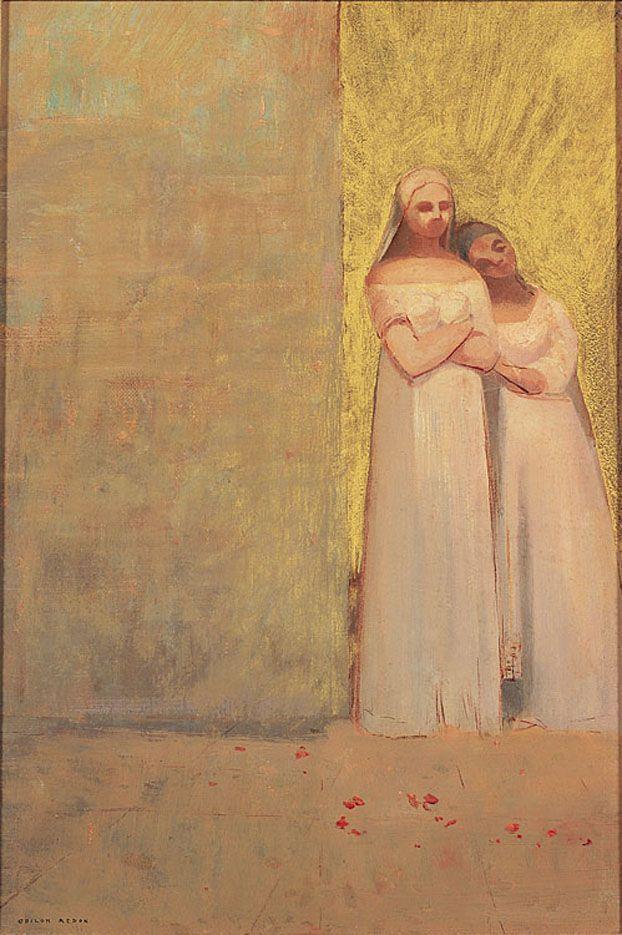 le-desir-de-lautre:  Odilon Redon (French, 1840-1916), The Two Graces, c. 1900. Oil on canvas, 41.91cmx 28.89cm.