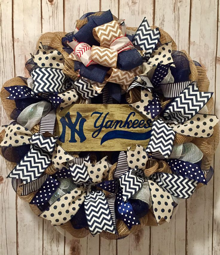 A personal favorite from my Etsy shop https://www.etsy.com/listing/528752911/new-york-yankees-new-york-yankees-wreath